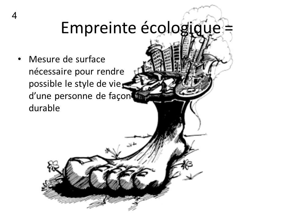 4 Empreinte écologique = Mesure de surface nécessaire pour rendre possible le style de vie dune personne de façon durable