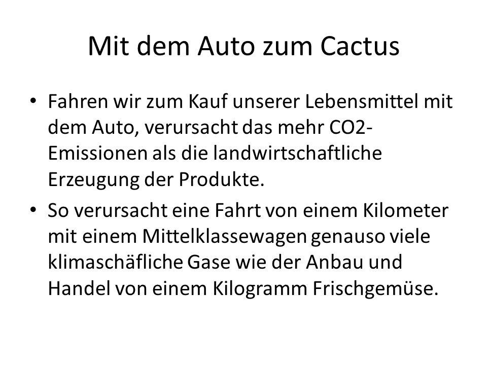 Mit dem Auto zum Cactus Fahren wir zum Kauf unserer Lebensmittel mit dem Auto, verursacht das mehr CO2- Emissionen als die landwirtschaftliche Erzeugung der Produkte.
