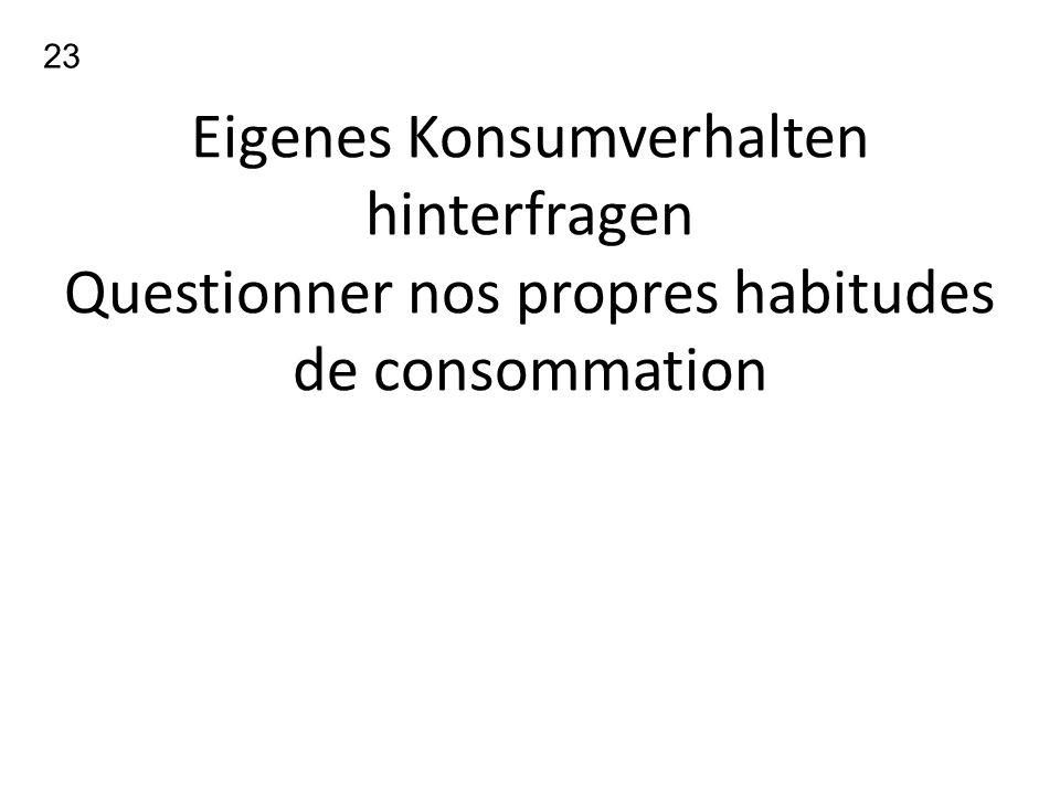 Eigenes Konsumverhalten hinterfragen Questionner nos propres habitudes de consommation 23