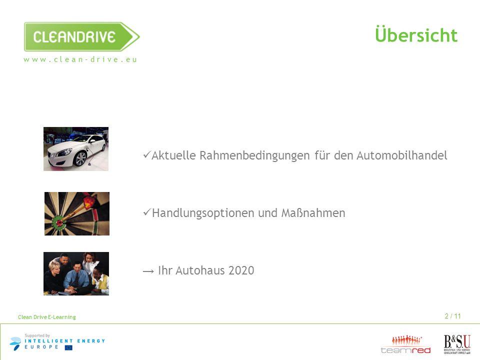 w w w. c l e a n – d r i v e. e u Clean Drive E-Learning 2 / 11 Übersicht Aktuelle Rahmenbedingungen für den Automobilhandel Handlungsoptionen und Maß
