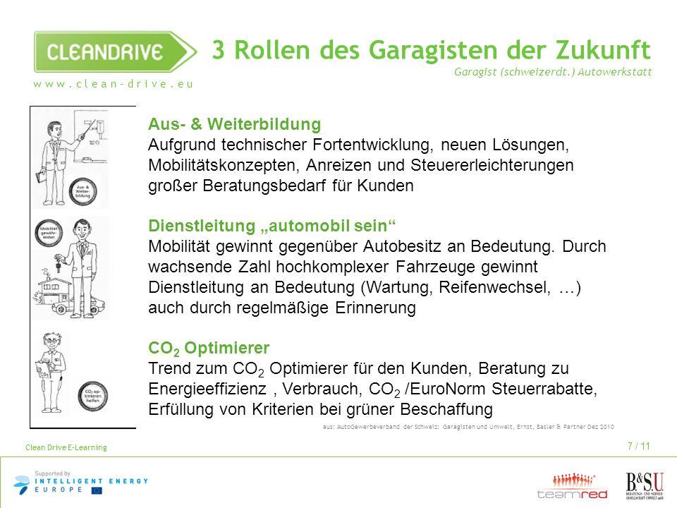 w w w. c l e a n – d r i v e. e u Clean Drive E-Learning 7 / 11 3 Rollen des Garagisten der Zukunft Garagist (schweizerdt.) Autowerkstatt aus: AutoGew