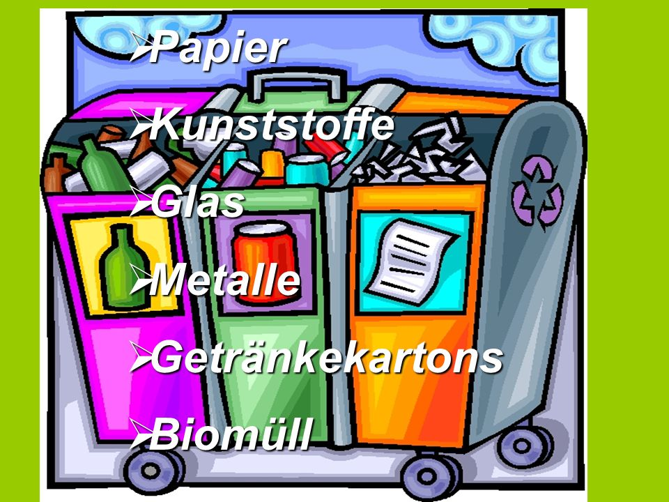 Papier Papier Kunststoffe Kunststoffe Glas Glas Metalle Metalle Getränkekartons Getränkekartons Biomüll Biomüll