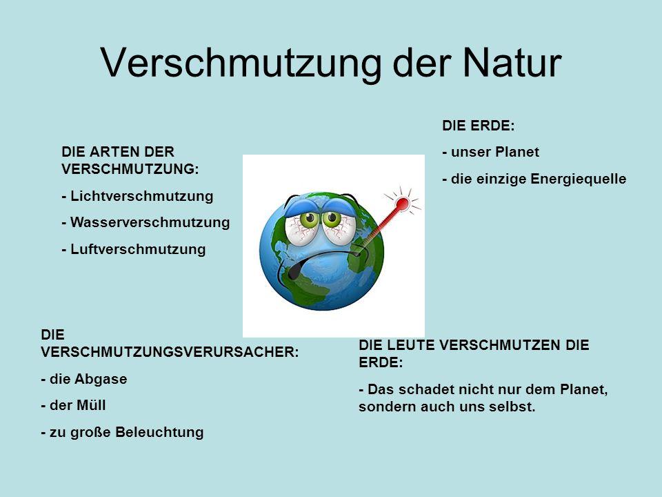 Verschmutzung der Natur DIE ARTEN DER VERSCHMUTZUNG: - Lichtverschmutzung - Wasserverschmutzung - Luftverschmutzung DIE ERDE: - unser Planet - die ein