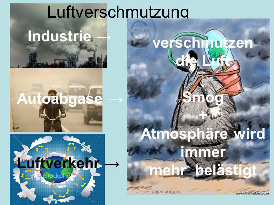 Luftverschmutzung Industrie Autoabgase Luftverkehr verschmutzen die Luft Smog + Atmosphäre wird immer mehr belästigt