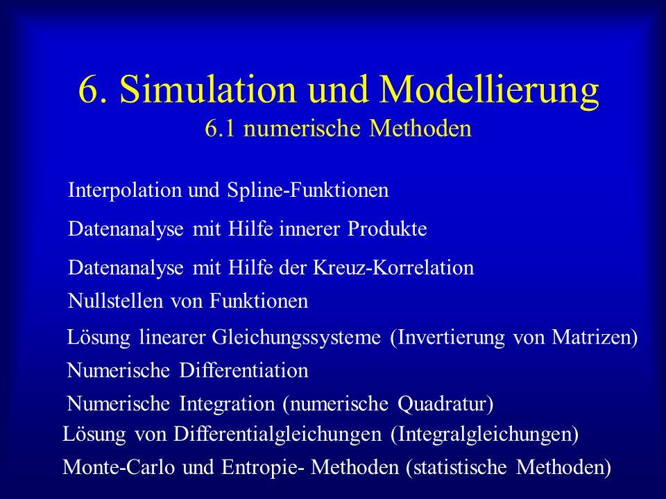 6. Simulation und Modellierung 6.1 numerische Methoden Interpolation und Spline-Funktionen Datenanalyse mit Hilfe innerer Produkte Datenanalyse mit Hi