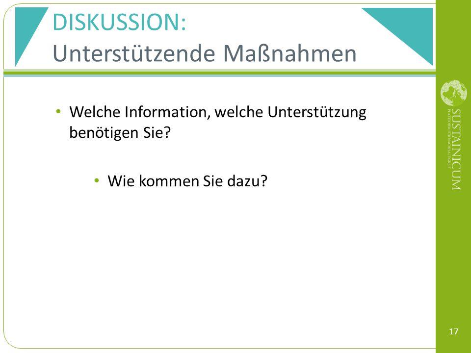 DISKUSSION: Unterstützende Maßnahmen Welche Information, welche Unterstützung benötigen Sie.