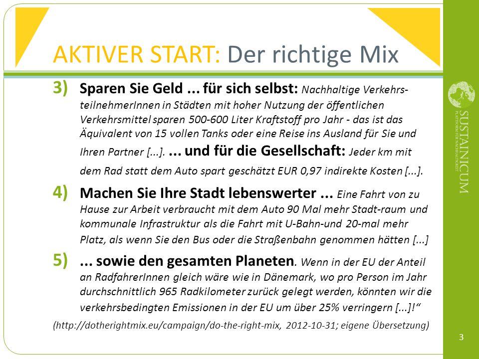 AKTIVER START: Der richtige Mix 3) Sparen Sie Geld...