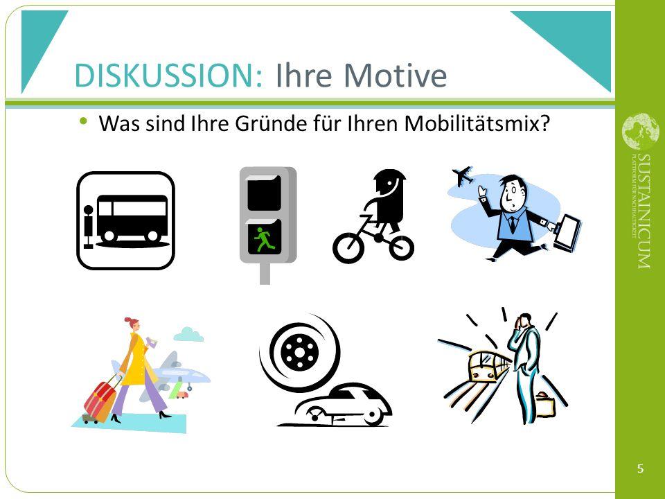 DISKUSSION: Ihre Motive Was sind Ihre Gründe für Ihren Mobilitätsmix 5