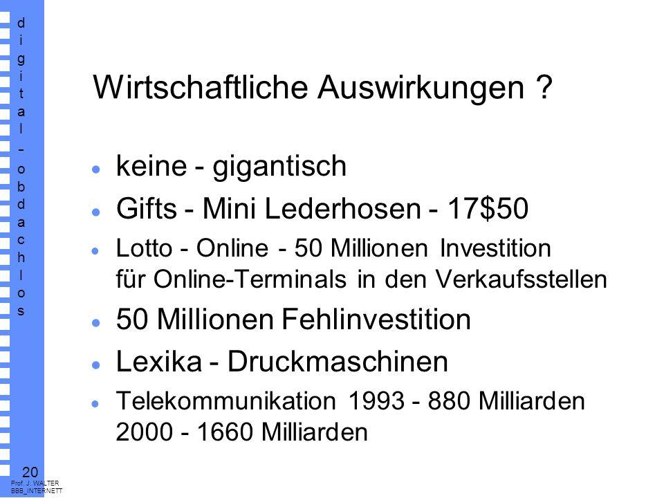 digital-obdachlosdigital-obdachlos 19 Prof. J. WALTER BBB_INTERNETT Kosten von Providern