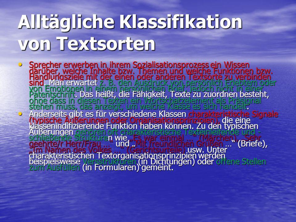 Alltägliche Klassifikation von Textsorten Sprecher erwerben in ihrem Sozialisationsprozess ein Wissen darüber, welche Inhalte bzw. Themen und welche F