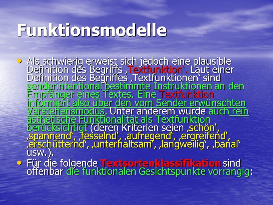 Funktionsmodelle Als schwierig erweist sich jedoch eine plausible Definition des Begriffs Textfunktion. Laut einer Definition des Begriffes Textfunkti