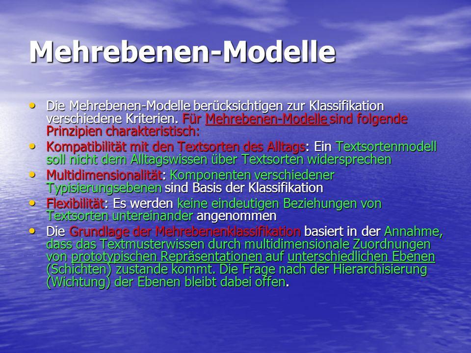Mehrebenen-Modelle Die Mehrebenen-Modelle berücksichtigen zur Klassifikation verschiedene Kriterien. Für Mehrebenen-Modelle sind folgende Prinzipien c