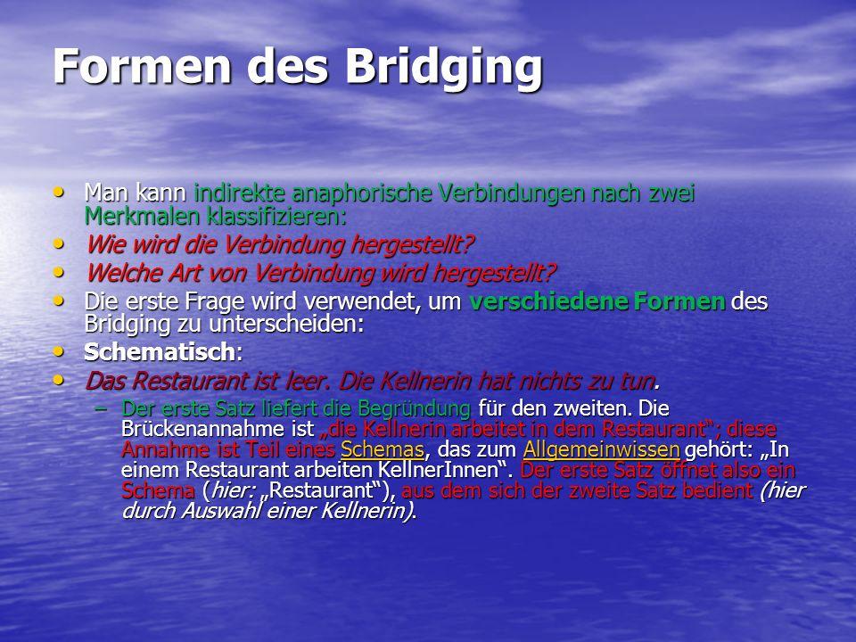 Formen des Bridging Man kann indirekte anaphorische Verbindungen nach zwei Merkmalen klassifizieren: Man kann indirekte anaphorische Verbindungen nach