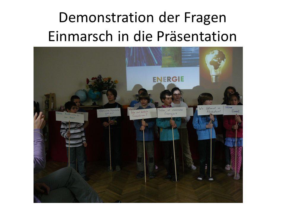 Demonstration der Fragen Einmarsch in die Präsentation