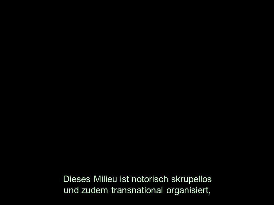 Dieses Milieu ist notorisch skrupellos und zudem transnational organisiert,