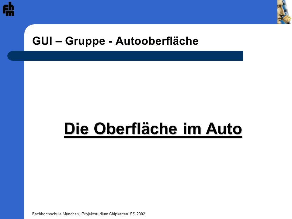 Fachhochschule München, Projektstudium Chipkarten SS 2002 GUI – Gruppe - Autooberfläche Die Oberfläche im Auto