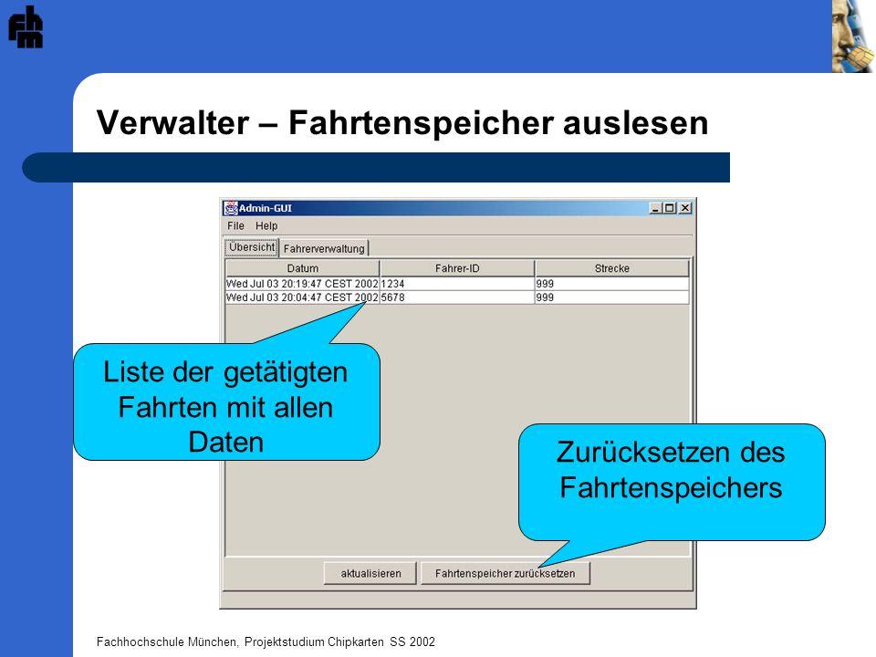 Fachhochschule München, Projektstudium Chipkarten SS 2002 Verwalter – Fahrtenspeicher auslesen Liste der getätigten Fahrten mit allen Daten Zurücksetzen des Fahrtenspeichers