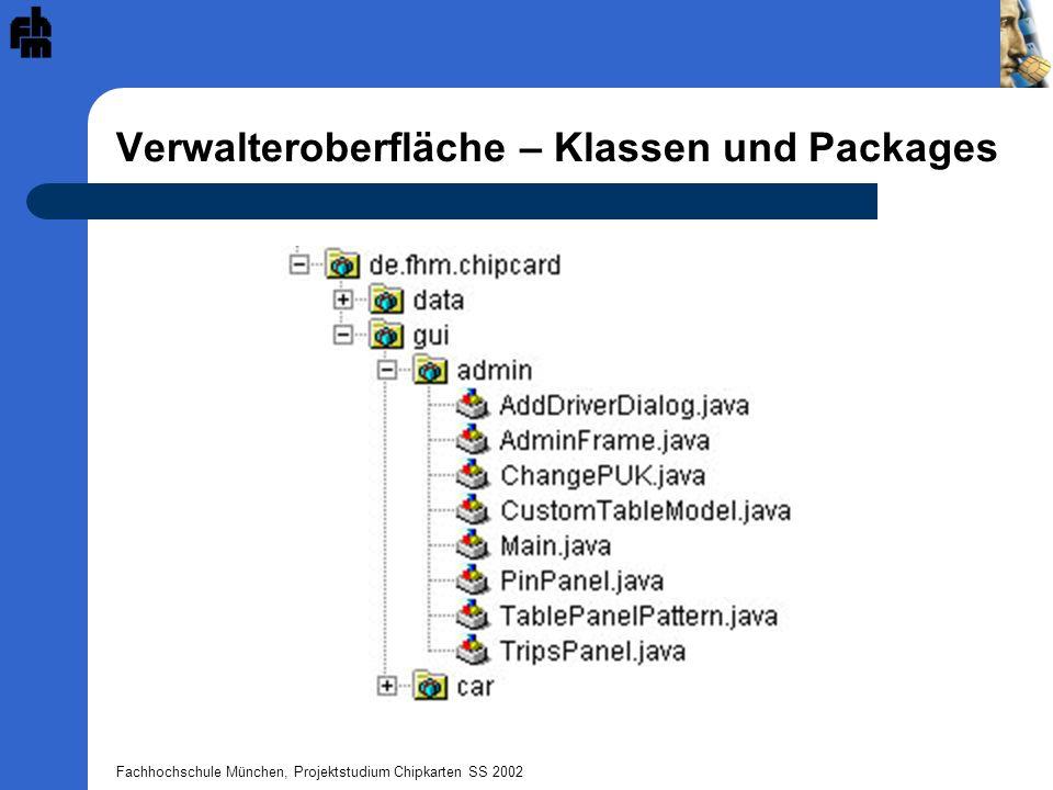 Fachhochschule München, Projektstudium Chipkarten SS 2002 Verwalteroberfläche – Klassen und Packages