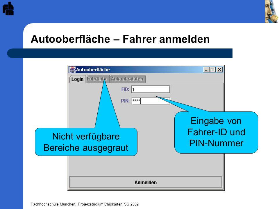 Fachhochschule München, Projektstudium Chipkarten SS 2002 Autooberfläche – Während der Fahrt Anzeige von Fahrtinformationen Zum Ende der Fahrt wird dieser Button gedrückt