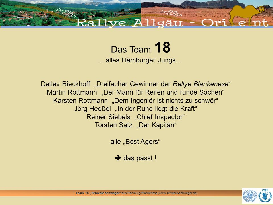 Team 18 Schwere Schwager aus Hamburg-Blankenese (www.schwere-schwager.de) Wir sprechen Partner an Zu einer Rallye bzw.