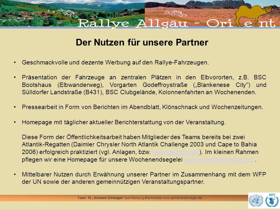 Team 18 Schwere Schwager aus Hamburg-Blankenese (www.schwere-schwager.de) Der Nutzen für unsere Partner Geschmackvolle und dezente Werbung auf den Ral