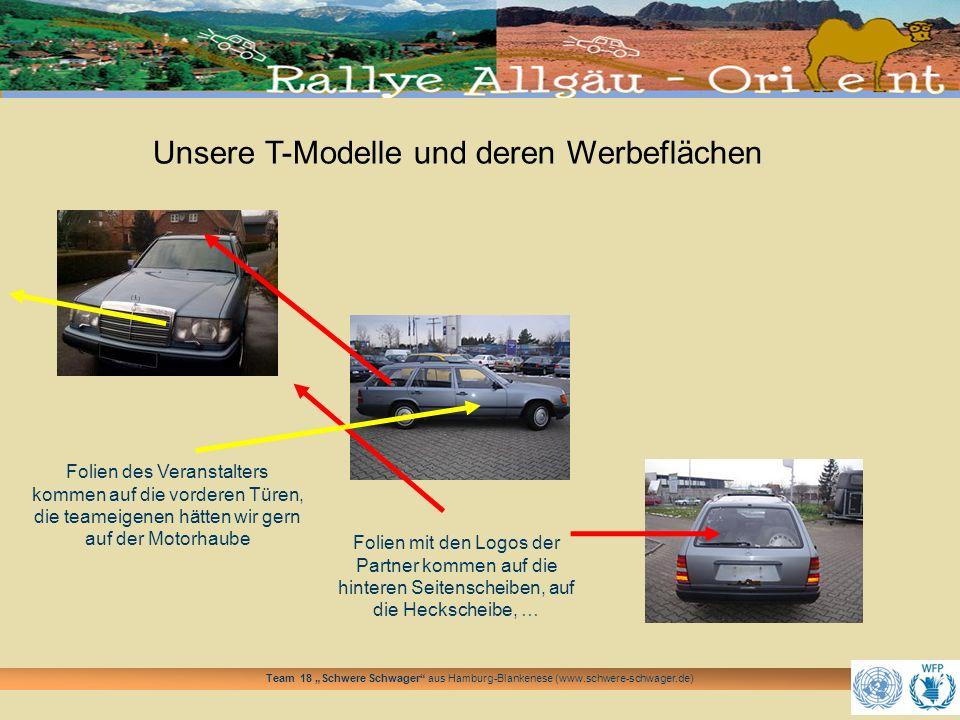 Team 18 Schwere Schwager aus Hamburg-Blankenese (www.schwere-schwager.de) Unsere T-Modelle und deren Werbeflächen Folien mit den Logos der Partner kom