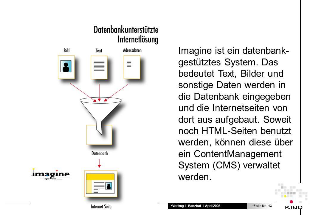 Vortrag I Banzhaf I April 2005Folie Nr. 13 Imagine ist ein datenbank- gestütztes System. Das bedeutet Text, Bilder und sonstige Daten werden in die Da