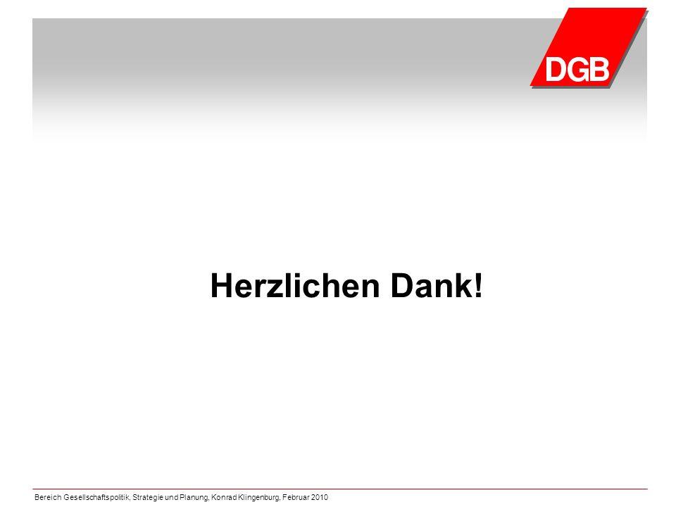 Bereich Gesellschaftspolitik, Strategie und Planung, Konrad Klingenburg, Februar 2010 Herzlichen Dank!