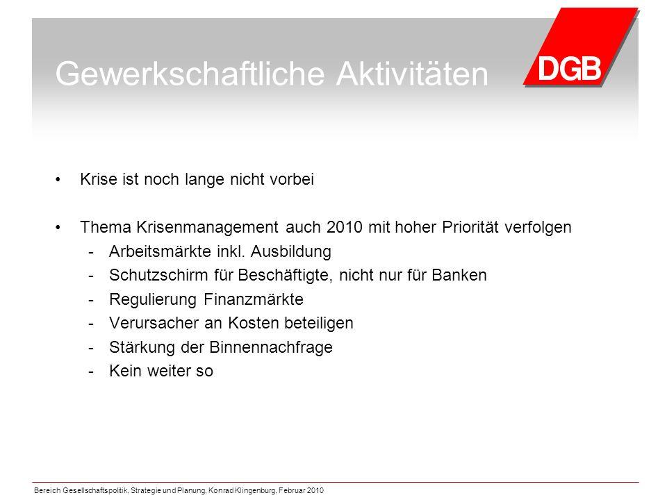 Bereich Gesellschaftspolitik, Strategie und Planung, Konrad Klingenburg, Februar 2010 Gewerkschaftliche Aktivitäten Krise ist noch lange nicht vorbei Thema Krisenmanagement auch 2010 mit hoher Priorität verfolgen - Arbeitsmärkte inkl.