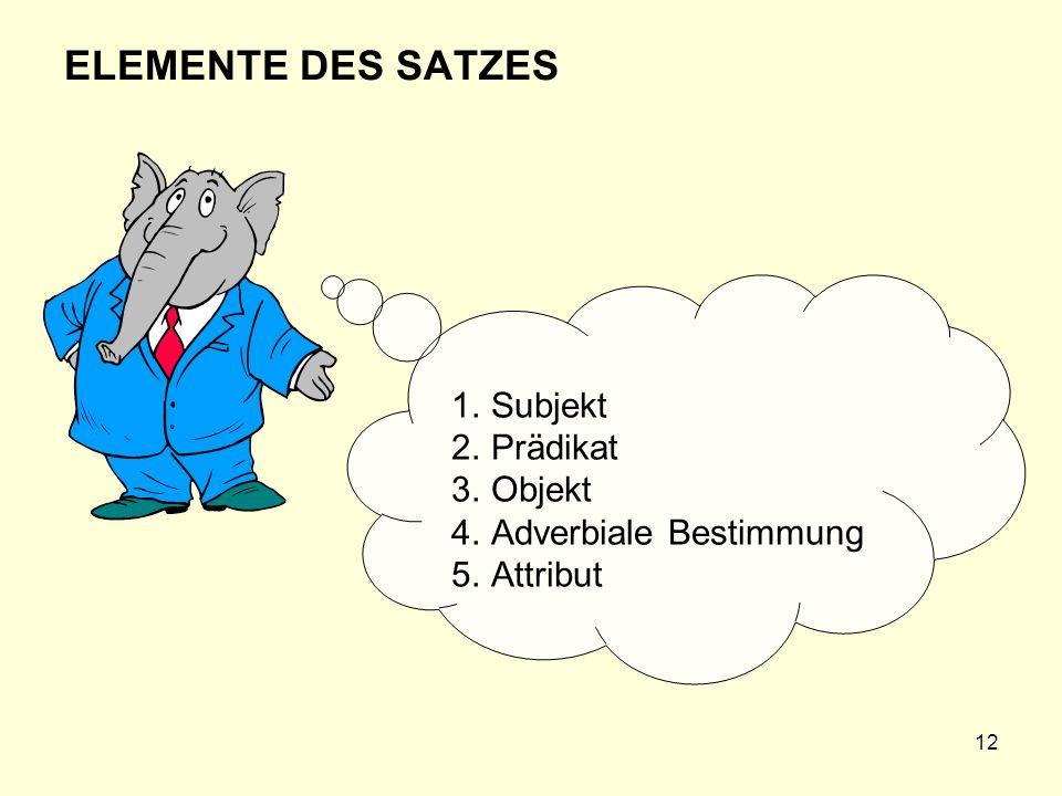 12 ELEMENTE DES SATZES 1.Subjekt 2.Prädikat 3.Objekt 4.Adverbiale Bestimmung 5.Attribut