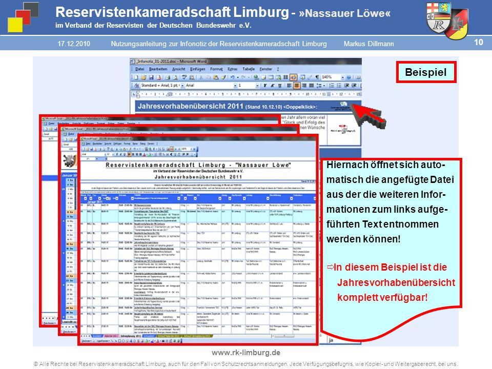 9 © Alle Rechte bei Reservistenkameradschaft Limburg, auch für den Fall von Schutzrechtsanmeldungen.