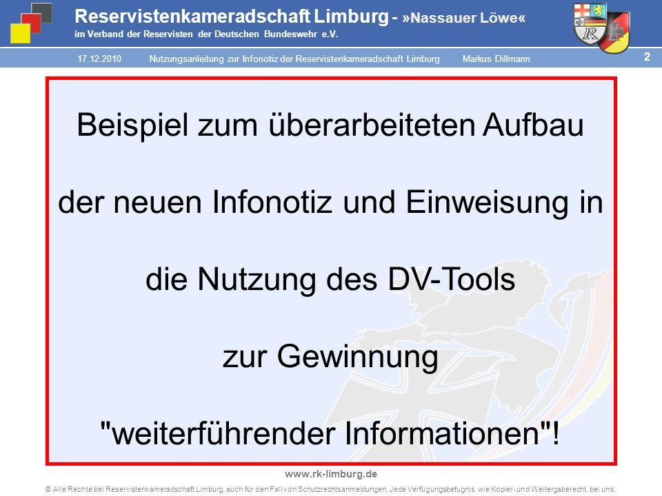1 © Alle Rechte bei Reservistenkameradschaft Limburg, auch für den Fall von Schutzrechtsanmeldungen.