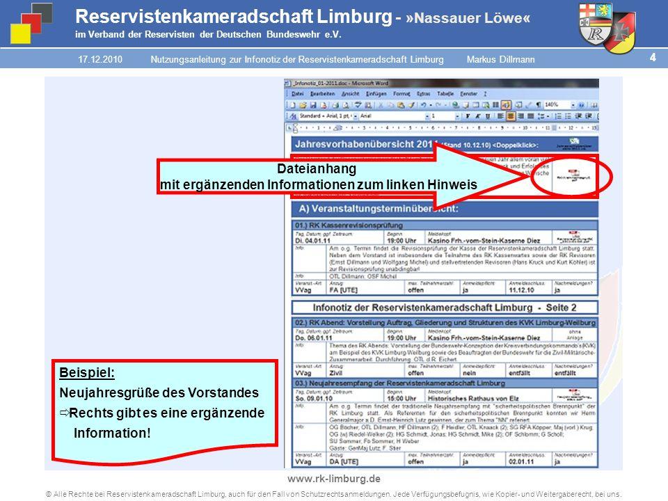 3 © Alle Rechte bei Reservistenkameradschaft Limburg, auch für den Fall von Schutzrechtsanmeldungen.