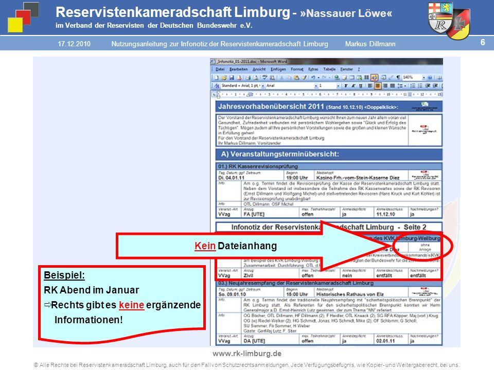 5 © Alle Rechte bei Reservistenkameradschaft Limburg, auch für den Fall von Schutzrechtsanmeldungen.