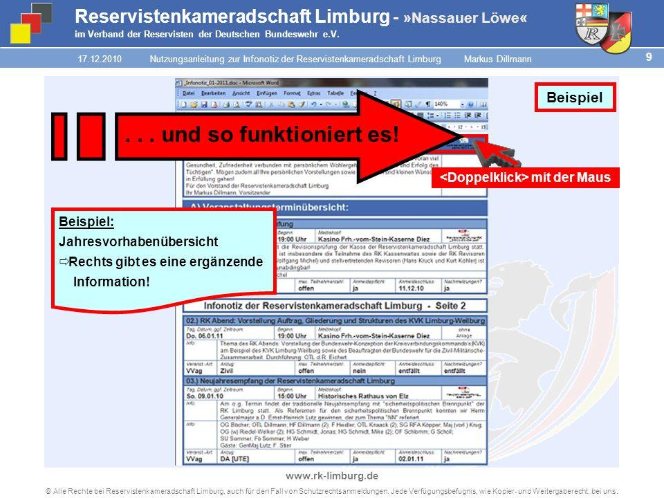 8 © Alle Rechte bei Reservistenkameradschaft Limburg, auch für den Fall von Schutzrechtsanmeldungen.