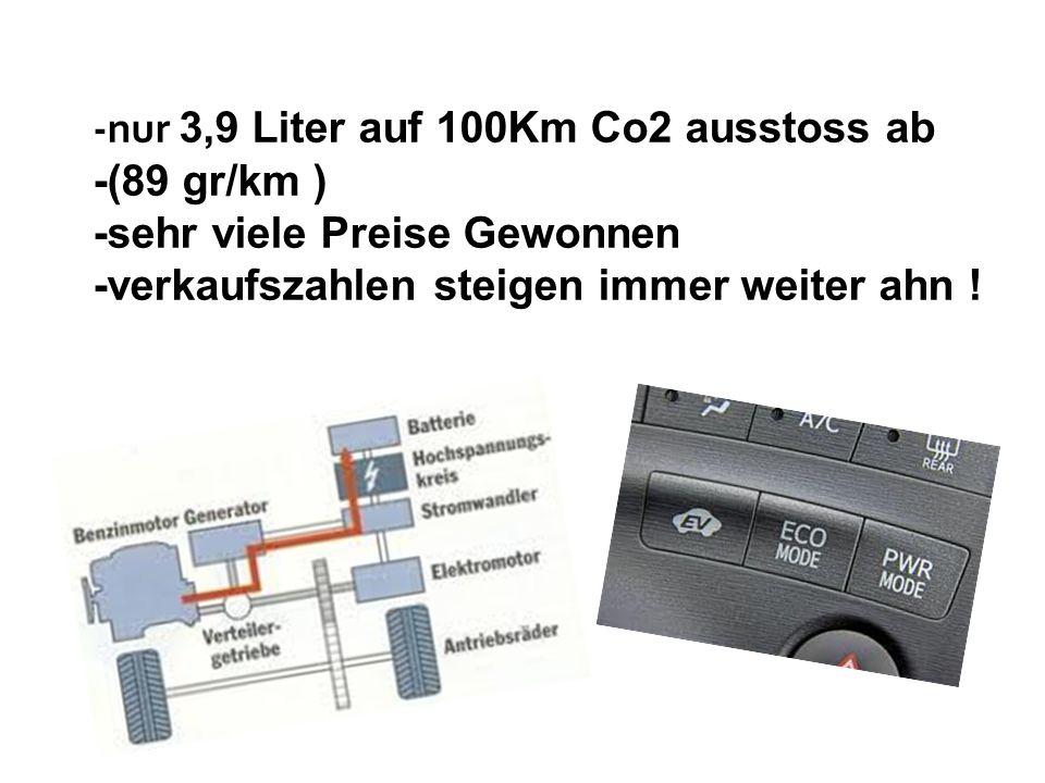 -nur 3,9 Liter auf 100Km Co2 ausstoss ab -(89 gr/km ) -sehr viele Preise Gewonnen -verkaufszahlen steigen immer weiter ahn !