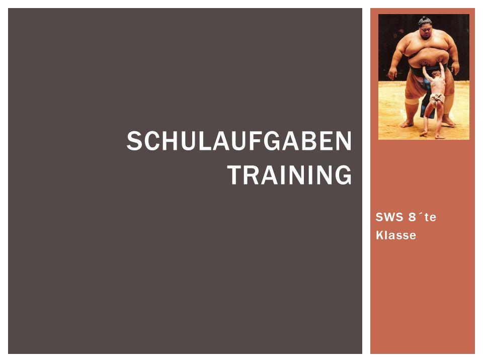SWS 8´te Klasse SCHULAUFGABEN TRAINING