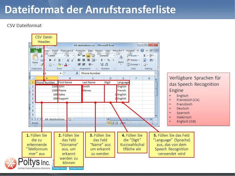CSV Dateiformat Dateiformat der Anrufstransferliste CSV Datei- Header. 1. Füllen Sie die zu erkennende Telefonnum mer aus 2. Füllen Sie das Feld Vorna