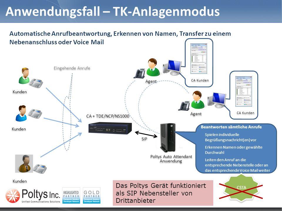 Anwendungsfall – TK-Anlagenmodus Beantworten sämtliche Anrufe Spielen individuelle Begrüßungsnachricht(en) vor Erkennen Namen oder gewählte Durchwahl