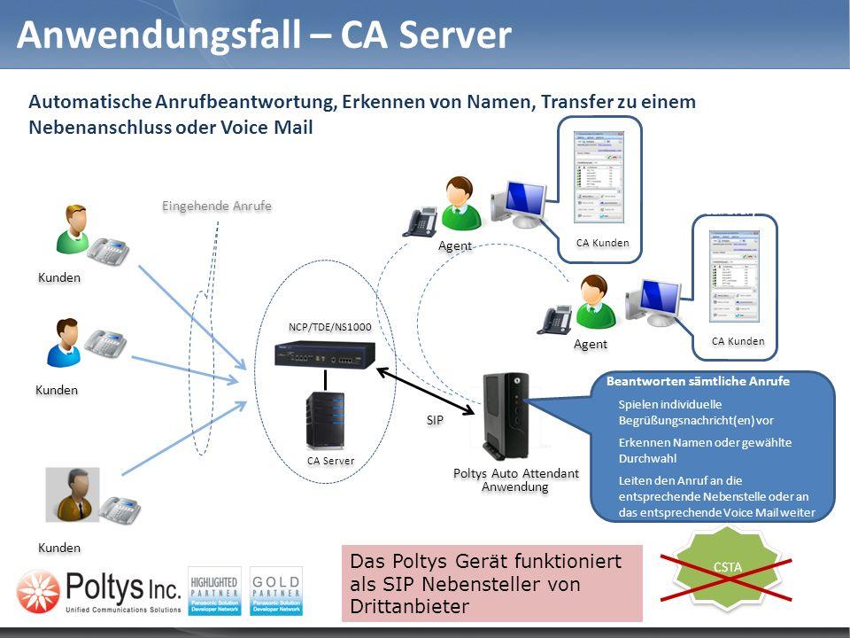 Anwendungsfall – CA Server Beantworten sämtliche Anrufe Spielen individuelle Begrüßungsnachricht(en) vor Erkennen Namen oder gewählte Durchwahl Leiten