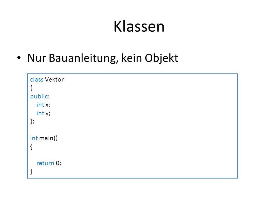 Klassen Nur Bauanleitung, kein Objekt class Vektor { public: int x; int y; }; int main() { return 0; }