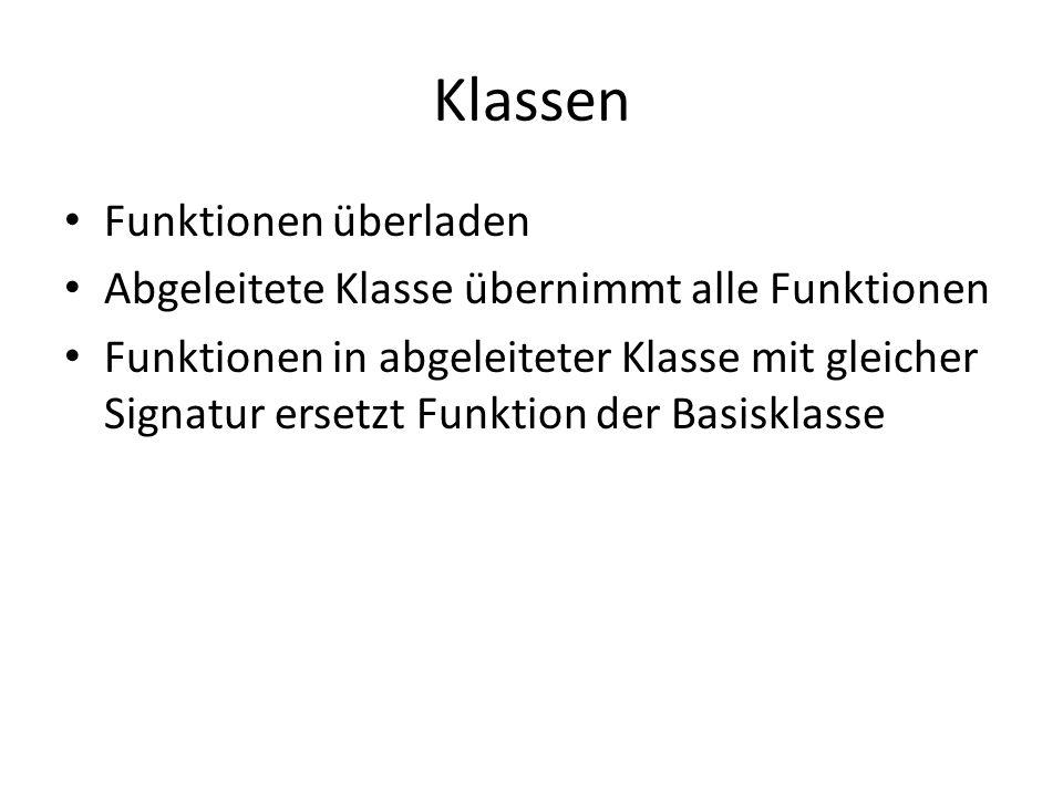 Klassen Funktionen überladen Abgeleitete Klasse übernimmt alle Funktionen Funktionen in abgeleiteter Klasse mit gleicher Signatur ersetzt Funktion der Basisklasse