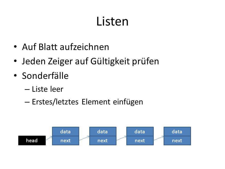 Listen Auf Blatt aufzeichnen Jeden Zeiger auf Gültigkeit prüfen Sonderfälle – Liste leer – Erstes/letztes Element einfügen head data next data next data next data next