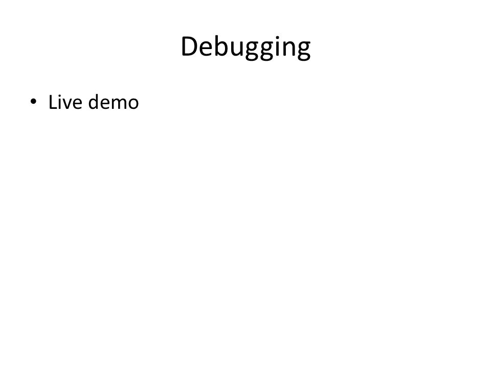 Debugging Live demo