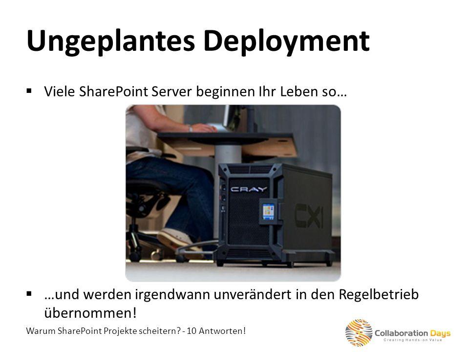 Warum SharePoint Projekte scheitern? - 10 Antworten! Viele SharePoint Server beginnen Ihr Leben so… …und werden irgendwann unverändert in den Regelbet