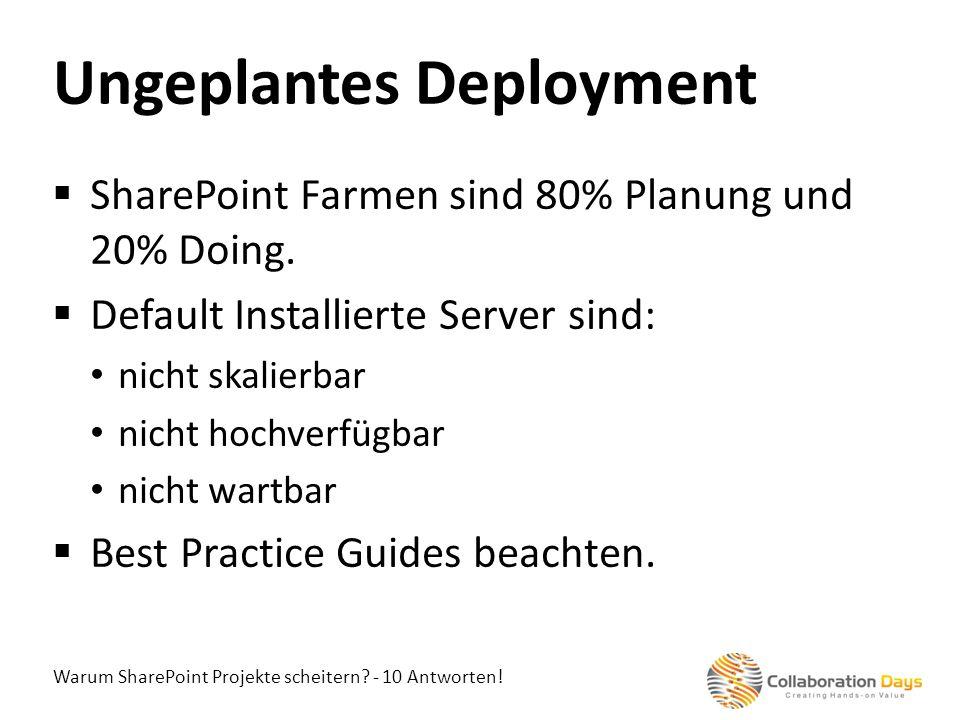 Warum SharePoint Projekte scheitern? - 10 Antworten! SharePoint Farmen sind 80% Planung und 20% Doing. Default Installierte Server sind: nicht skalier