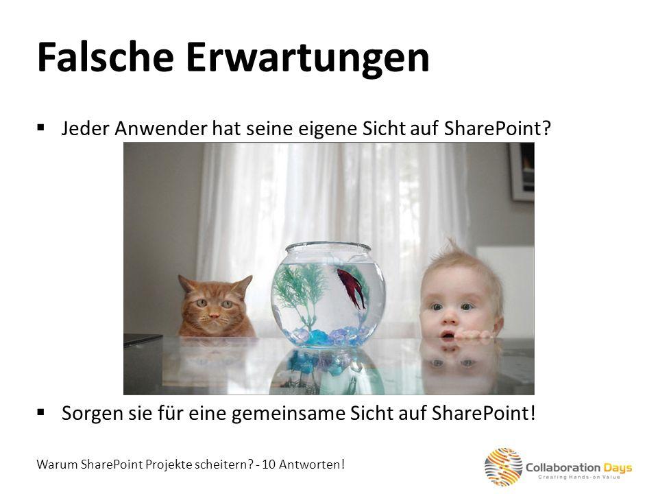 Warum SharePoint Projekte scheitern? - 10 Antworten! Jeder Anwender hat seine eigene Sicht auf SharePoint? Sorgen sie für eine gemeinsame Sicht auf Sh