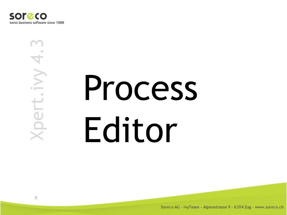 Soreco AG - ivyTeam – Alpenstrasse 9 – 6304 Zug – www.soreco.ch Xpert.ivy 4.3 Prozess Editor Gridlines – Preferences: Ein/Aus-Schaltbar, Farbeinstellung Zoom Undo Context Menu–Shortcuts Positionierung – Combine/Refine – Copy/Paste – Swimlane Resize 10
