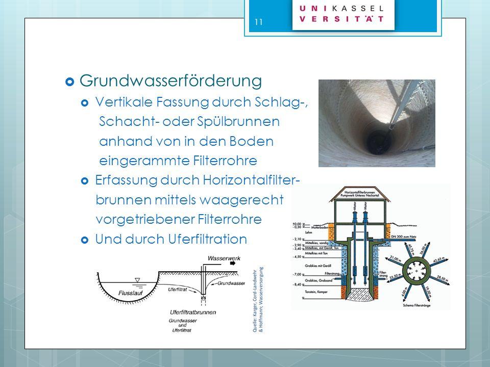 Verfahren zur Erkundung von Grundwasservorkommen Hydrogeologisches Profil Erstellung einer Grundwasser- höhenkarte Geoelektrische Methode Messung des elektrischen Widerstands Seismische Methode Durch Sprengungen oder Fallgewichte Farbstoffmessung Zur Bestimmung von Fließgeschwindigkeit und Fließrichtung 12
