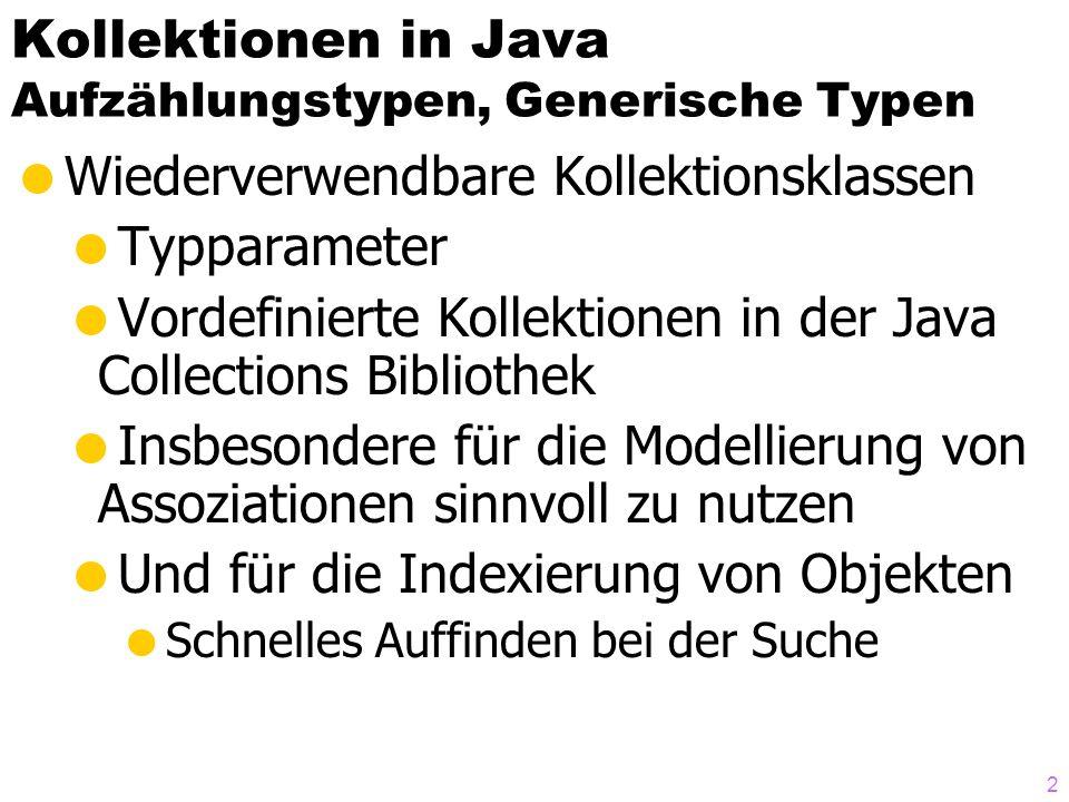 Kollektionen in Java Aufzählungstypen, Generische Typen Wiederverwendbare Kollektionsklassen Typparameter Vordefinierte Kollektionen in der Java Collections Bibliothek Insbesondere für die Modellierung von Assoziationen sinnvoll zu nutzen Und für die Indexierung von Objekten Schnelles Auffinden bei der Suche 2